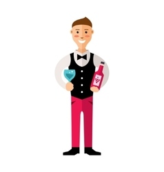 professional Sommelier Flat style colorful vector image