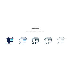 Rammer icon in different style two colored vector