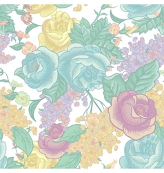 Seamless background with bouquets of wildflowers vector