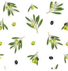 seamless pattern with olive branch 3d objects vector image