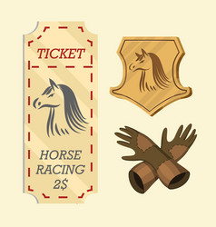 set horseback riding racing icons for activity vector image
