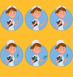 set of avatars nurse vector image