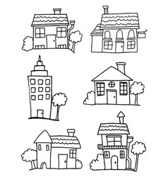set of house hand draw vector image