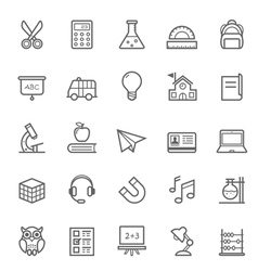 set outline stroke education icons vector image