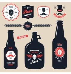 Set vintage craft beer bottles brewery badges vector
