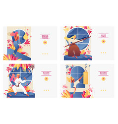 Set with large landing page templates with girls vector