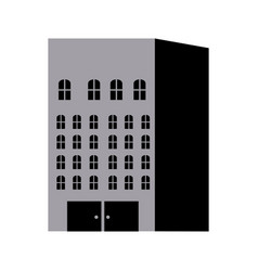 Silhouette monochrome with building apartments and vector