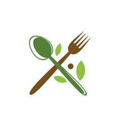 Spoon fork food menu organic logo vector