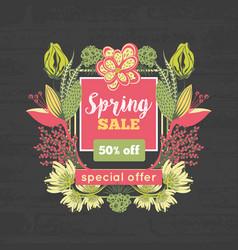 Spring sale special offer floral decoration vector