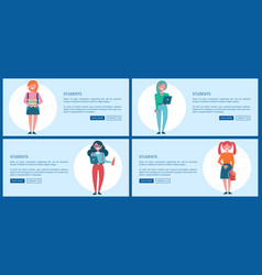Student girls set of posters with push buttons vector