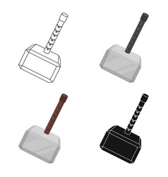 viking battle hammer icon in cartoon style vector image