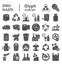 Zero waste glyph icon set reuse symbols vector
