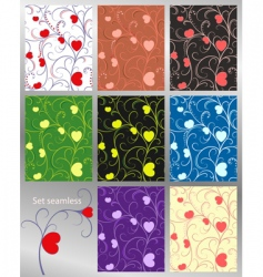 abstract pattern hearts set se vector image vector image