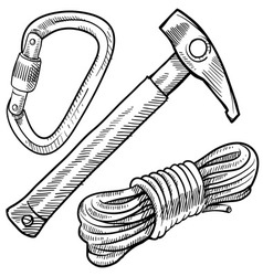 Doodle climbing rope carabiner hammer pick vector