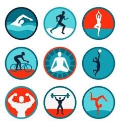fitness icons and signs vector image vector image