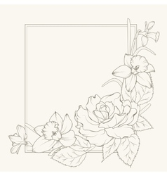 Rose and narcissus flowers frame design element vector image vector image