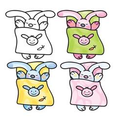 sleep rabbits vector image vector image