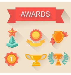 Trophy and awards icons set flat style vector image vector image