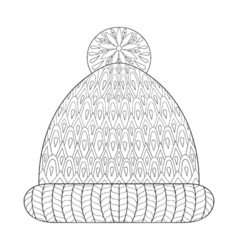 Winter knitted cap mittens vector image