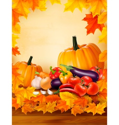 Autumn vegetable on wooden background with leaves vector image vector image