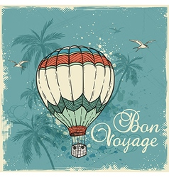 Green retro background with air balloon vector image vector image