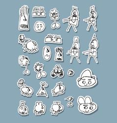 Naif Doodle Icons vector image vector image