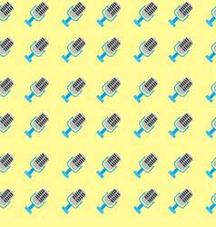 Seamless pattern with colored microphone vector image