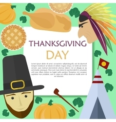 set for Thanksgiving Day in a flat style vector image vector image