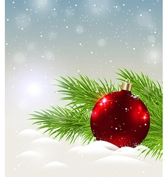 Shining red decoration in snow vector image