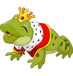 Cartoon funny king frog king blowing a kiss vector image