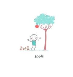 Child under apple tree vector image vector image