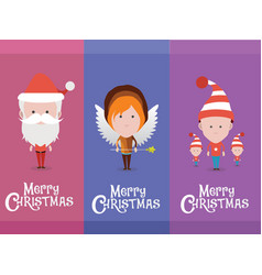 christmas characters avatars vector image vector image