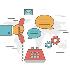 Contact us concept outline icons vector image