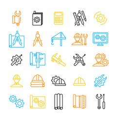engineering thin line icon set vector image