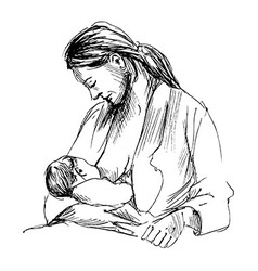 Hand sketch mother nursing baby vector image vector image