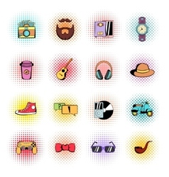 Hipster style comics icons set vector image