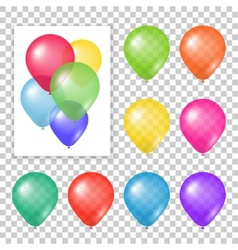 Set of party balloons on transparent background vector image
