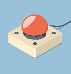 3d emergency start stop red button vector image