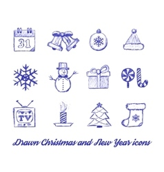 Christmas Drawn set vector image vector image
