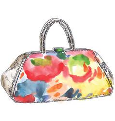 colored handbag watercolor vector image vector image