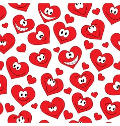 seamless background of smiling hearts vector image vector image