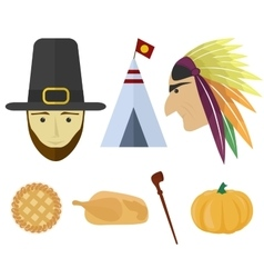 set for Thanksgiving Day vector image vector image