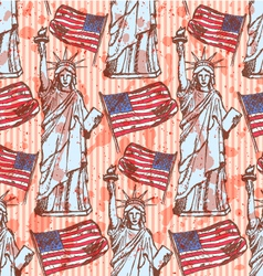 Sketch Statue of Liberty and flag vintage seamless vector image vector image