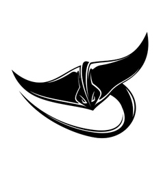 Sting ray or manta ray with a curving tail vector