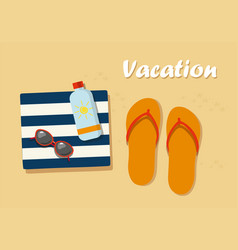 Vacation flip flops in the sand with towel vector