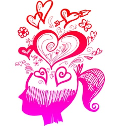 Woman head full of love thoughts vector image vector image