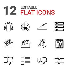 12 down icons vector