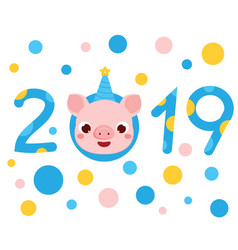 2019 new year banner with cartoon pig face symbol vector image
