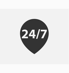 24 hours a day service icon symbol vector