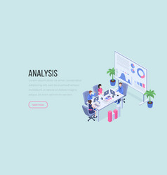 analysis isometric landing page color template vector image